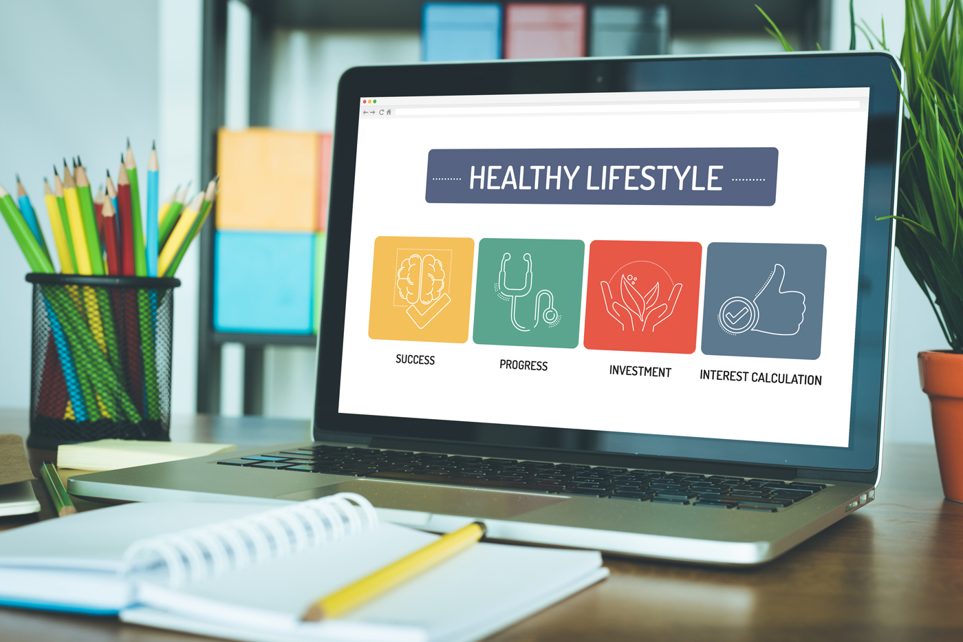 healthy lifestyle website on laptop